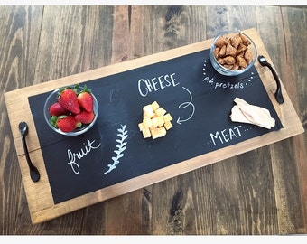 Rustic Chalkboard Serving Tray, Serving Tray, Party Tray, Chalkboard Tray, Wooden Chalkboard Tray, Rustic Wooden Tray, Wooden Tray