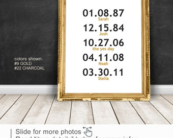 Modern family wall sign, Special Dates sign PRINT/CANVAS/DIGITAL, Wedding Anniversary Gift, Family birthdays wall decor, Important Date art