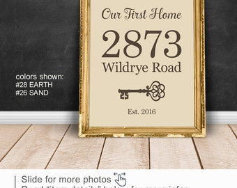 Our First Home wall decor, New Home sign with vintage key PRINT/CANVAS/DIGITAL, Personalized Address wall art, New Home Gift for new couple