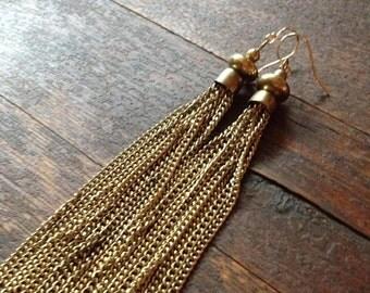 Brass chain tassel earrings with a brass cap. Brass tassel earrings.
