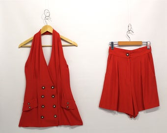 Vintage Clothing • Two Piece Set • High Waisted Short / Halter Top •1980's - 1990's Bright Red •Summer Set • Blondie and Me