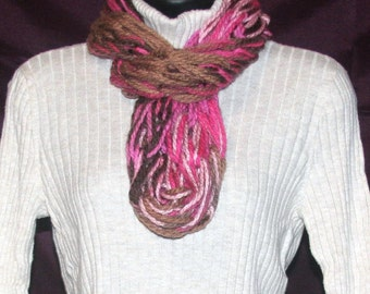 Pink & Brown Chunky Scarf