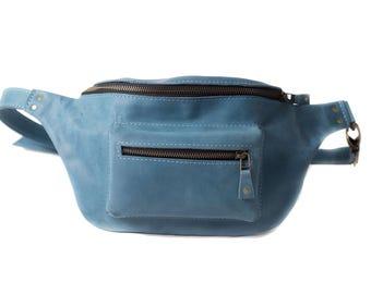 Waist bag leather, women belt bag, leather waist bag, genuine leather bag, belt pouch, waist pack gift, fanny pack vintage, light blue