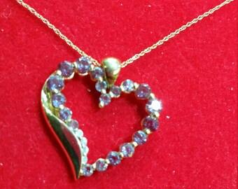 Valentine's Heart Shaped Genuine Diamond and Blue Topaz Pendant 14k yellow gold