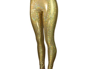 Gold Shattered Glass Holographic Leggings Pants - Rave, Festival, EDM, 80s Clothing - High Waisted Funky