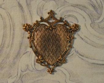 Vintage French Filigree Heart Pendant or Charm for Enameling 1 Piece Made in France 188J