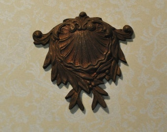 Antique French Ornate Rococo Style Brass Die Cast Pendant or Jewelry Finding 263J