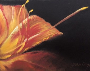 Unique greeting card of a lily made pastel dry