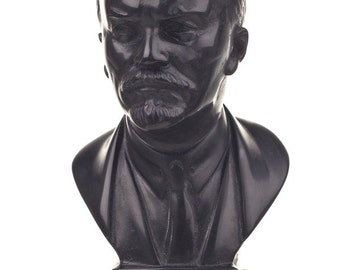 Soviet Russian USSR Leader Vladimir Lenin Stone Bust / Statue 10.5cm (4.1'') black