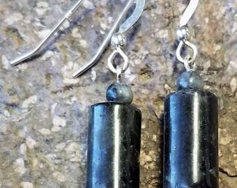 Rough/Hand Cut Black Labradorite Bead Earrings