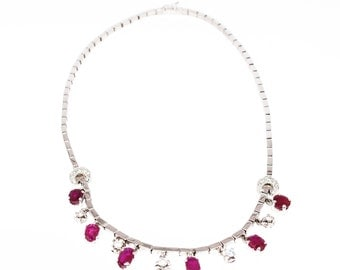 Necklace 18K white gold with rubies and diamonds
