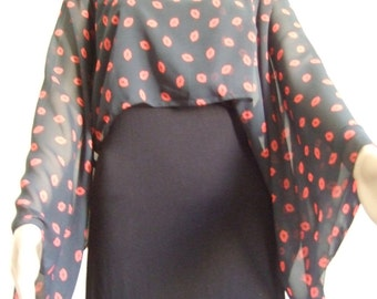Beautiful red and black kisses printed Voile mini poncho-scarf-tube