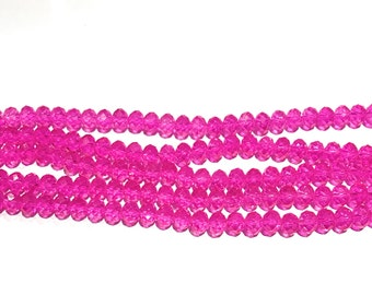 Glass Beads, Beads, Faceted Glass Beads, Crystal Beads, Pink Beads, Rondelle Beads, Beads for Jewelry Making, Beading Supplies, 8X6mm, Beads