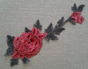 Embroidered flower patch applique sew on