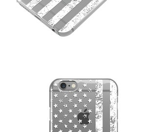 White Distressed American Flag iPhone 7 Case, iPhone 6 Case , iPhone Cases, Rubber Case, Galaxy S7 Case, Cell Phone, Galaxy Edge -30