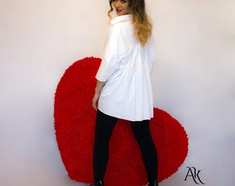 Asymmetric White Shirt - Oversized White Shirt - Cotton Shirt - Casual White Top - White blouse