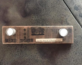 Reclaimed Oak Wood Candle Holder and Quote with Decoupage
