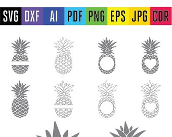 Pineapple monogram Pineapple SVG Pinapple cut SVG Pineapple split vector clipart files for Silhouette Cricut Dxf Svg Eps Png Pdf Jpg Ai Cdr