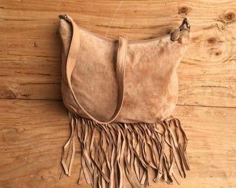 Suede Boho Fringe Purse / Suede Fringe Shoulder Bag / Suede Fringe Handbag BARGANZA sorpresa