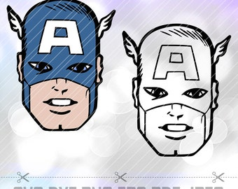 Captain America Face LAYERED SVG DXF Vector Cut File for Cricut Design Silhouette Cameo Avengers Justice League Vinyl Decal Scrapbooking