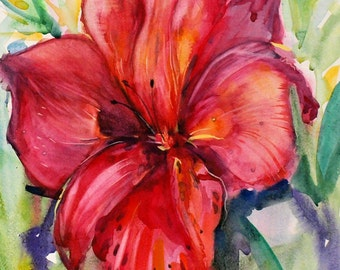 Orchid painting Orchid art Orchid picture Large orchid wall art Red watercolor Red flower wall decor Big flower art  PaintingOnlineStore
