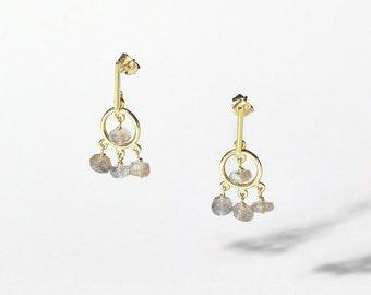 Playful Earrings 18KGold Labradorite/Fine Jewelry/Labradorite & 18K Gold Dangle Earrings