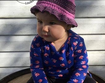 Cotton Sun hat. Optional hole for the quilt. Summer hat. Beach hat. Baby, girl, child, adult hat. Hand made