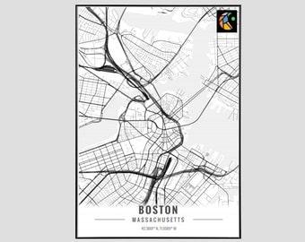 Boston Map Art Print, Poster Map of Boston Decor, Boston City Map Art, Boston Gift, Boston Art Poster