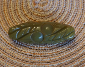 Vintage Carved Bakelite Brooch Olive Green Leaf & Berry  - Circa 1930's