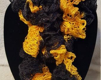 Gold and Black ruffle scarf / School spirit scarf / Pittsburgh Steelers fan / ruffle scarf