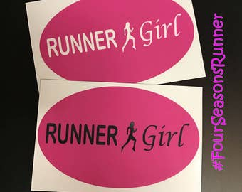 Pink Runner Girl Window Decal Sticker,Bumper Sticker,Runner Girl Sticker, Runner Girl Decal,Running Decals,Running Stickers