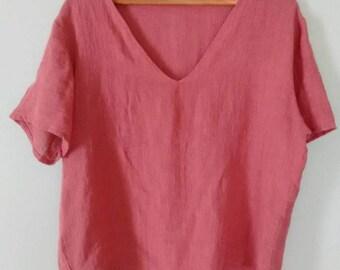 Vintage handmade rose linen blouse