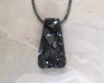 Melanite Garnet Druzy & Pyrite Pendant