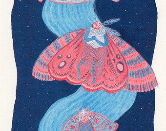 Mooncall (A 2-colour Risograph Print)