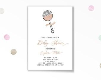 Baby Shower Invitation, Rattle Baby Shower Invitation, Printable, Rattle, Pink, Girl, Baby Girl, Shower Invite, Stationary