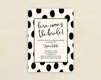 Bridal Shower Invitation, PINK POLKA DOTS Bridal Shower Invitation, Shower Invite, Pink, Black, Stationary