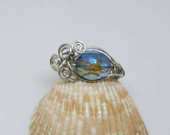 Glass bead Dragon eye ring handmade with copper wire