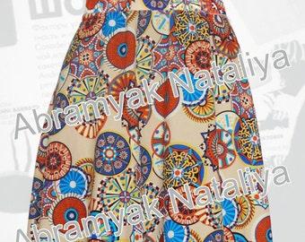 African circle skirt African skirt short African print skirt easy African print circle skirt African midi skirt African beige skirt online