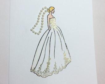 handmade card // wedding card // wedding dress // say yes to the dress // congratulations // engagement // bride // bridal shower