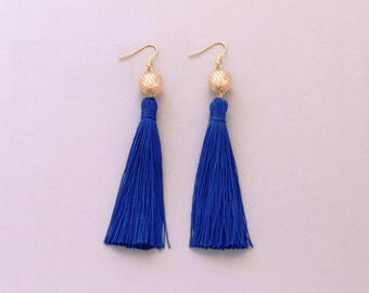 Tassel Earrings - Royal Blue Statement Earrings