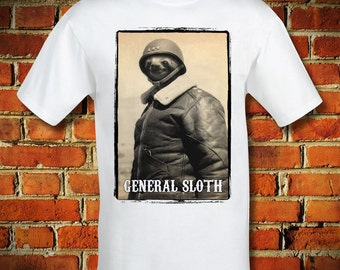 BOARDRIPPAZ T SHIRT Sloth Shirt General Sloth Faultier Soldier General Patton Animal Hipster Swag Dope Animal Shirt Fun shirt Sloth Shirt