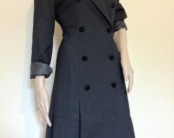 90s Black Tuxedo Dress with Velvet Detail Liz Claiborne