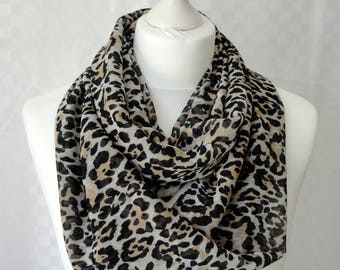 Animal print infinity scarf, Circle scarf, Animal skin print scarf, Print scarf, Scarf for her, Lightweight scarf, Fashion scarf