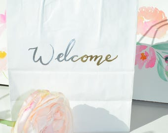 Custom Ombre Gold/Silver Embossed Gift Bag /Wedding/Bridal/Baby/Bridesmaids/Groomsmen/Party