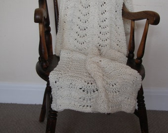 Hand knitted cream scarf