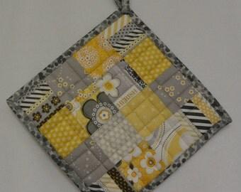 Yellow and Grey Potholders