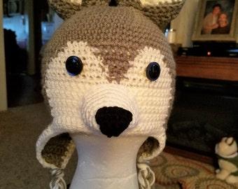 Crochet Husky/Wolf Hat