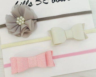 Baby Headband Set, Baby Girl Headband, Baby Bows, Baby Hair Bows, Newborn Headbands, Kids Headbands, Toddler Headbands, Mini Bow Headbands