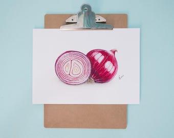 Red Onion Art Print, Realistic Art