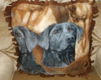 Dog Print Throw Pillow - Fringed
